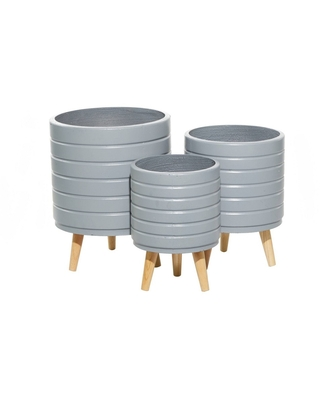 Contemporary Wood Striped Planters - olivia & may