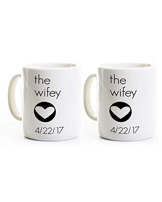 Wifey and Wifey Coffee Mugs Lesbian Wedding Gift Gay Marriage Engagement Anniversary - perks and recreation