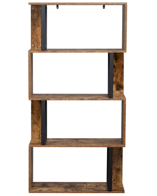 Modern 4 MDF 4 Shelf Standard Bookcase with Metal Frame - outopee