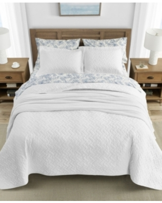Tommy Bahama Solid Reversible 3 Piece Full Queen Quilt Set Bedding - tommy bahama home