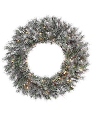 Frosted Lacey Pine Lighted Wreath - the holiday aisle