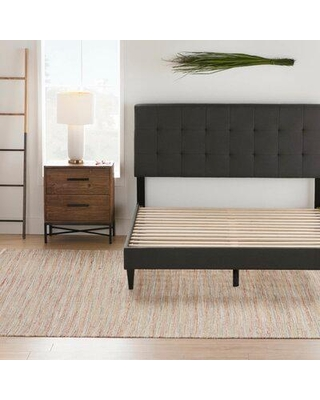 Andover Mills™ Peters Tufted Upholstered Low Profile Platform Bed Metal in Gray/Black, Size 46.0 H x 56.0 W in | Wayfair