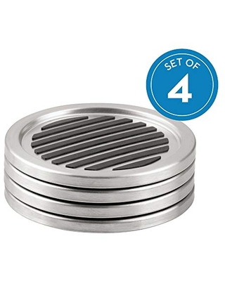 Forma Brushed Stainless Steel Drink Coasters for Home Counters Kitchen Dining Room Living Room Patio Coffee Table 20550 - idesign
