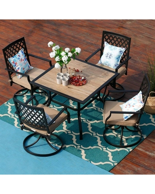 5pc Outdoor Swivel Chairs & Square Table - captiva designs