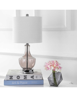 Colette Mini Glass Led Table Lamp In Smoked - jonathan y