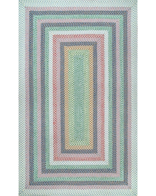 3 x 5 Braided Pink Outdoor Solid Area Rug HJFV09B 305 - nuloom