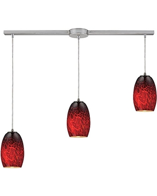 10220 3L FBR Maui 3 Light Pendant with FireBrick Glass Shade 36 by 8 Inch Finish - elk