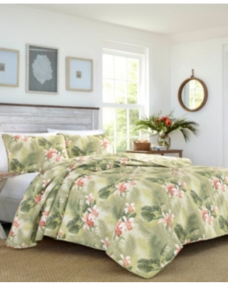 Tommy Bahama Tropical Orchid Palm Reversible 3 Piece King Quilt Set Bedding - tommy bahama home