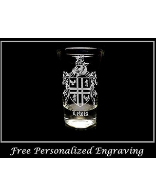 Lewis English Family Coat of Arms Shot Glass Free Personalized Engraving and Free Shipping - lyoncraft