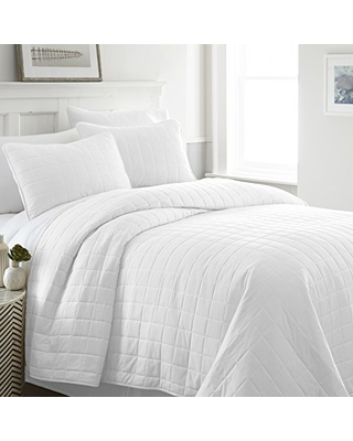 Quilted Coverlet Set Square Patterned King California King - linen market
