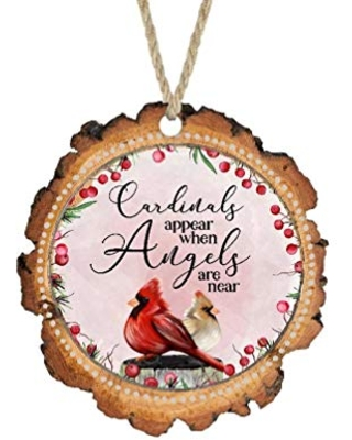 Christmas Ornament Cardinals Appear When Angles Are Near Faux Wood Slice Christmas Ornament - sticks, hooks, and yarn