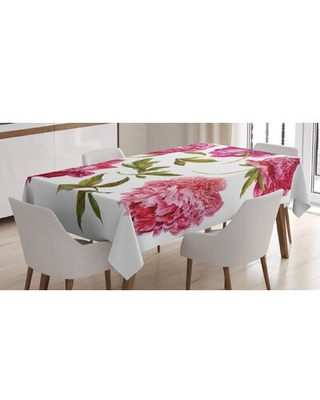Spring Buds in Vivid Tones Watercolor Peony Bouquet Artwork Tablecloth - east urban home