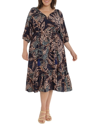 Printed Tie Waist Dress at Nordstrom - maggy london