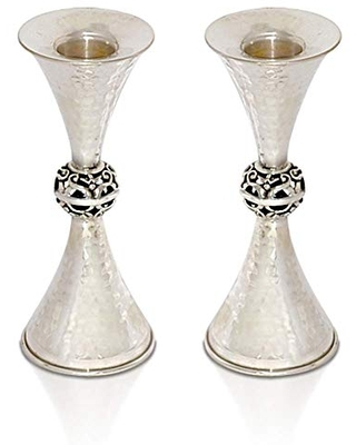 925 Sterling Large Hammered Candlesticks and tray combine Two cone shaped joined with orb Jewish Wedding gift - nadav art