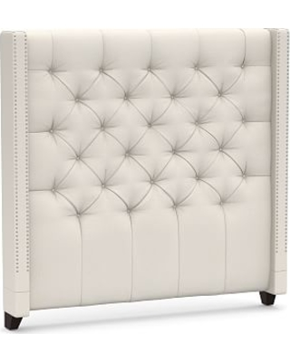 Harper Upholstered Tufted Tall Headboard with Pewter Nailheads Queen Performance Heathered Tweed Ivory - undefined