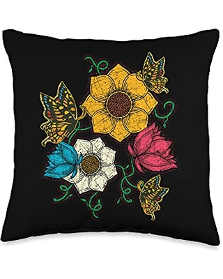 Nature Animal Vintage Insect Flowers Butterfly Throw Pillow 16x16 - entomology butterfly collector gift