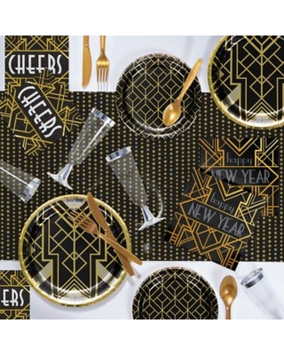 Creative Converting 81-Piece Art Deco New Year Party Supplies Kit Gold