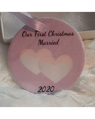 Lesbian Wedding Gifts for the Couple Christmas Ornament LGBTQ Gay Marriage Mrs and Mrs - uniquely designed by rebecca