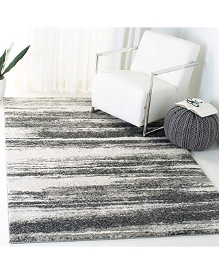 SAFAVIEH Retro Collection RET2693 Modern Abstract Non-Shedding Living Room Bedroom Dining Home Office Area Rug, 6' x 9', Dark Grey / Light Grey