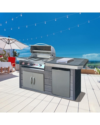 4 Burner Gas Grill 7 ft Synthetic Wood and Tile BBQ Grill Island - cal flame