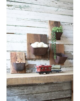Assorted Repurposed 4 Piece Metal and Wood Wall Planter - gracie oaks
