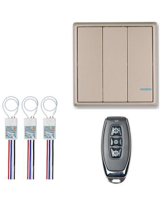 GREENCYCLE 1 Set 3 Gang Wireless Light Switch 110V Receiver Transmitter Kit Outdoor 1600ft Indoors 130ft Remote Controller Ceiling Lamp LED - greencycle tech inc.