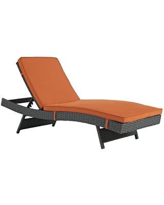 Sojourn Wicker Outdoor Patio Chaise Lounge with Sunbrella Canvas Tuscan Cushions - modway