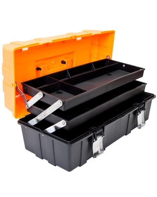 Torin ATRJH 3430T 17 Inch 3 Layer multi function Toolbox with Tray and Dividers Folding Tool Organizers Plastic Tool Storage box - torin jacks