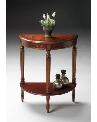 Bellini Collection 0889176 Demilune Console Table with Traditional Style Demilune Shape and Solid Wood in Cherry and Paint - butler
