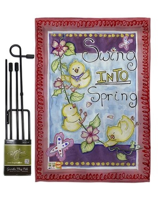 Swing into Spring Garden Friends Birds Impressions Decorative 2 Sided Polyester 5 x 13 in Flag Set - breeze decor