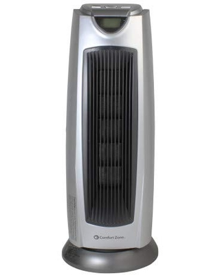 Comfort Zone Digital Ceramic Oscillating Electric Tower Heater Fan with Remote Control - ccc comfort zone