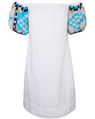 Women's Recycled Cotton Off Shoulders Mini Linen Dress With Embroidered Puff Sleeves Large - haris cotton