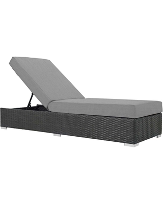 Sojourn Outdoor Patio Sunbrella Chaise Lounge EEI 1862 CHC GRY - modway