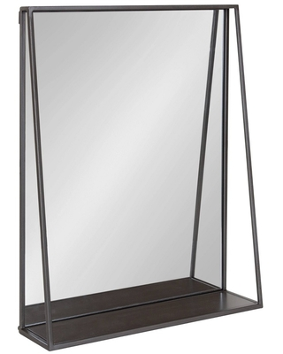 Lintz Metal Framed Decorative Wall Mirror with Shelf - kate & laurel all things decor