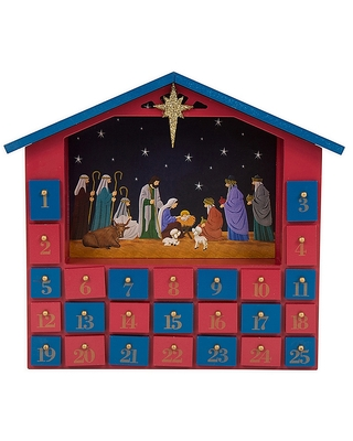 ooden Farmhouse Nativity Countdown Advent Calendar With Drawers - glitzhome