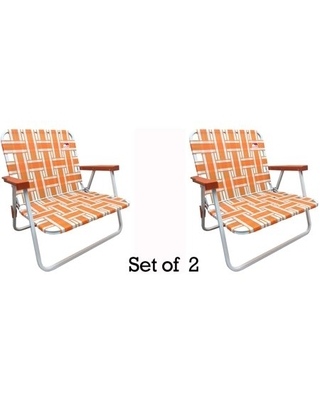 2 Pack Low Back Reinforced Steel Powder Coated Webbed Folding Lawn Camp Beach Chair - outdoor spectator