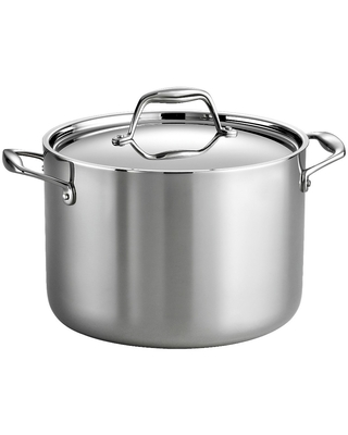Gourmet Tri Ply Clad Induction Ready Stainless Steel Covered Stock Pot - tramontina
