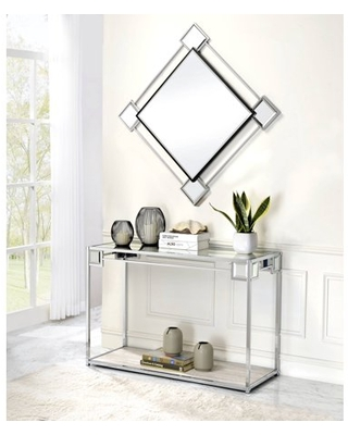 Asbury Console Table in Mirrored Chrome - acme furniture