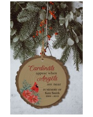 Cardinals Appear When Angels are Near Bark Christmas Ball Ornament - the holiday aisle