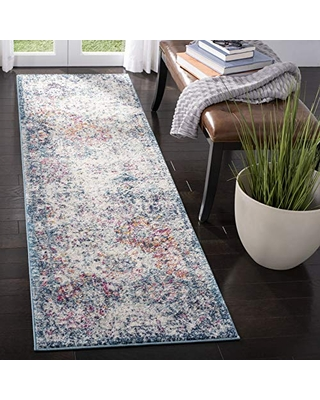 """SAFAVIEH Madison Collection MAD611N Boho Chic Floral Medallion Trellis Distressed Non-Shedding Living Room Entryway Foyer Hallway Bedroom Runner, 2'3"""" x 8' , Navy / Teal"""