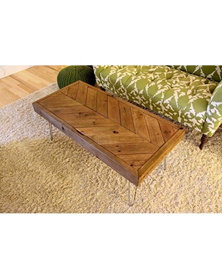 Chevron Reclaimed Wood Coffee Table on Hairpin Legs Made to Order - the wobbly knob
