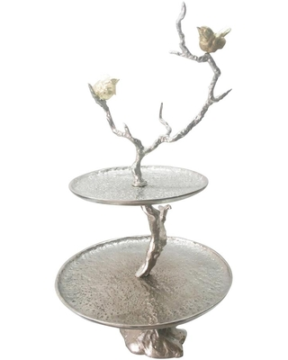 A & B Home Iron Branch Two-Tiered Silver Tray