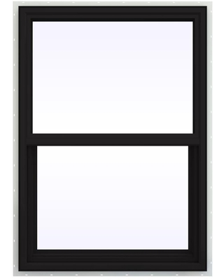 JELD-WEN FiniShield V-4500 29.5-in x 40.5-in x 3-in Jamb Vinyl New Construction Black Double Hung Window Full ENERGY STAR Northern Zone