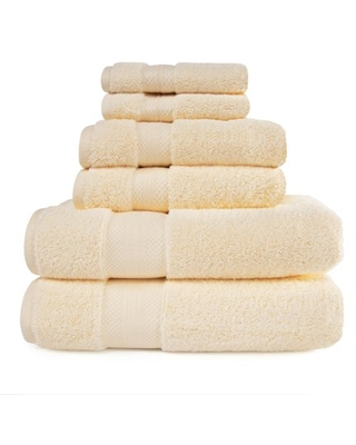 Turkish Cotton Solid 6 Piece Highly Absorbent Plush Towel Set Ivory by - superior