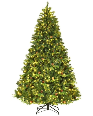 5 ft Pre Lit Artificial Christmas Tree Hinged with 540 LED Lights and Pine Cones - costway
