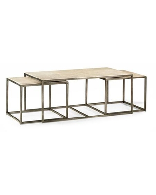 Modern Basics Collection 190 910 RECTANGULAR COCKTAIL in Natural Travertine and Textured - hammary