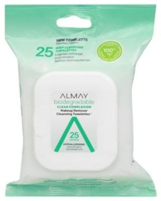 25 Count Biodegradable Clear Complexion Makeup Remover Cleansing Towelettes - almay