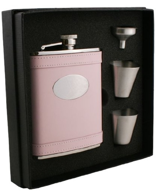 """""""Satisfaction"""" Leather Deluxe Flask Gift Set 6 Ounce - visol"""