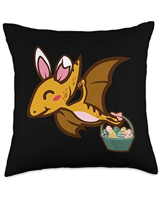 Pterosaur Dinosaur Bunny Egg Hunting Cute Easter Throw Pillow 18x18 - easter holiday design apparel gifts