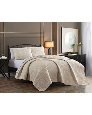 Yardley Quilt Set King Lightweight Microfiber Bedspread Embossed Design Quilted Coverlet with Matching Pillow Shams All Season Bedding Basics - addison home